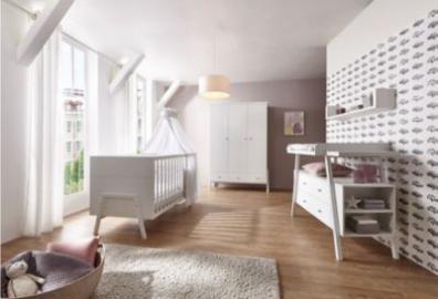 Komplett Kinderzimmer Holly White (Kombi-Kinderbett 70 x 140 cm, Umbauseiten, Wickelkommode und Kleiderschrank 3-trg.), Dekor/Massivholz weiß