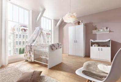 Komplett Kinderzimmer Classic White (Kombi-Kinderbett 70 x 140 cm mit Umbaukit, Umbauseiten, Wickelkommode und Kleiderschrank 2-trg.), Dekor weiß