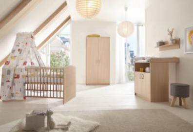 Komplett Kinderzimmer Classic Buche (Kombi-Kinderbett 70 x 140 cm mit Umbaukit, Umbauseiten, Wickelkommode und Kleiderschrank 2-trg.), Holzdekor Buche holzfarben