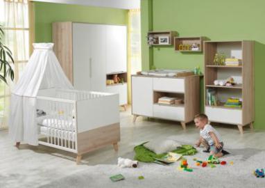 Komplett Kinderzimmer METTE, 3-tlg. (Kinderbett, Wickelkommode und 3-türiger Kleiderschrank), Buche/weiß Gr. 70 x 140