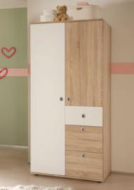 Kleiderschrank MILU, 2-türig, Sonoma-weiß holzfarben