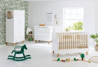 Komplett Kinderzimmer PAN, 3-tlg. (Kinderbett, Wickelkommode und 2-türiger Kleiderschrank), Eiche teilmassiv, weiß lackiert Gr. 70 x 140