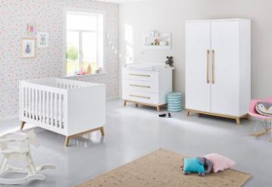 Komplett Kinderzimmer RIVA, 3-tlg. (Kinderbett, Wickelkommode und 2-türiger Kleiderschrank), Esche teilmassiv, weiß lackiert Gr. 70 x 140