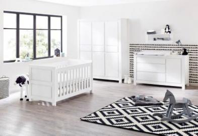 Komplett Kinderzimmer MILK, 3-tlg. (Kinderbett, extrabreiter Wickelkommode und 6-türiger Kleiderschrank), weiß lackiert Gr. 70 x 140