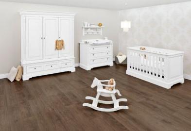 Komplett Kinderzimmer EMILIA, 3-tlg. (Kinderbett, Wickelkommode und 3-türiger Kleiderschrank), weiß lackiert Gr. 70 x 140