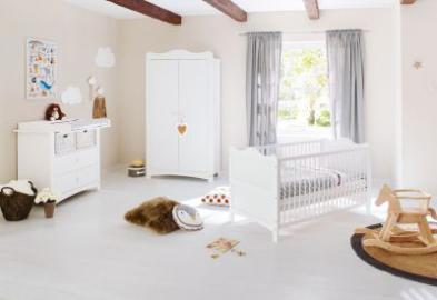 Komplett Kinderzimmer FLORENTINA, 3-tlg. (Kinderbett, Wickelkommode und 2-türiger Kleiderschrank), weiß Gr. 70 x 140