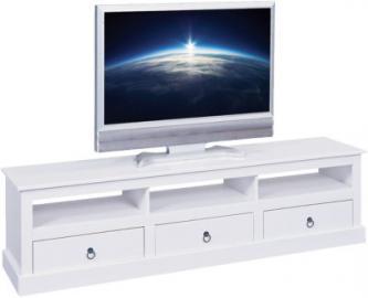 Massivholz TV-Board ´´Roma´´ mit 3 Schubladen weiß