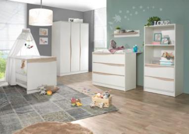 Komplett Kinderzimmer Wave Nature, 3-tlg. (Kinderbett 70 x 140 cm, Wickelkommode und 3-türiger Kleiderschrank), weiß/natur