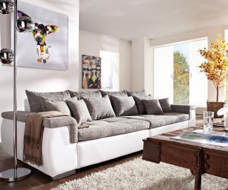 DELIFE Sofa Navin 275x116 cm Hellgrau Weiss Couch mit Kissen, Big Sofas