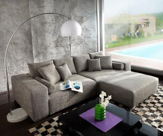 DELIFE Big-Sofa XXL Marbeya 290x110 Hellgrau Hocker Schlaffunktion, Big Sofas