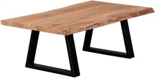 Akazien Couchtisch ´´Gani´´ Massivholz/Metall 115x60 cm beige