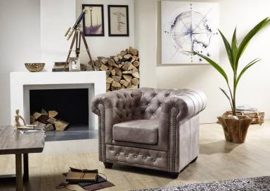 Sessel Chesterfield 94x86x72 silber OXFORD