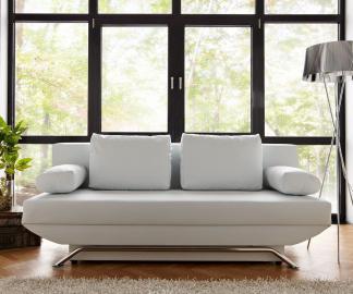 DELIFE Schlafsofa Cady 200x90 cm Weiss Couch mit Schlaffunktion, Schlafsofas