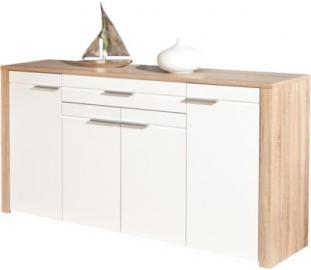 Hochglanz/Sonoma Sideboard ´´Monda´´ 176x40x89 cm weiß