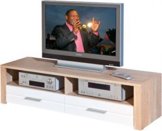 Hochglanz/Sonoma TV-Board ´´Monda´´ 150x40x37 cm weiß