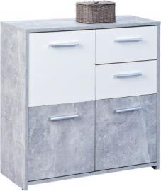 Beton/Weiß Kommode ´´Chesa´´ 77x30x77 cm weiß/grau