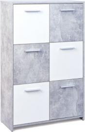 Beton/Weiß Sideboard ´´Chesa´´ 77x30x115 cm weiß/grau
