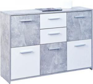 Beton/Weiß Kommode ´´Chesa´´ 115x30x77 cm weiß/grau