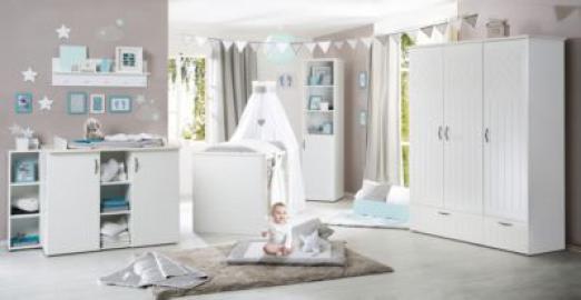 Komplett Kinderzimmer CONSTANTIN, 3-tlg. (Bett, Wickelkommode, Kleiderschrank 3-trg,), weiß/Canadian white Gr. 70 x 140
