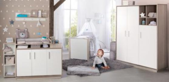 Komplett Kinderzimmer OLAF, 3-tlg. (Bett, Wickelkommode, Kleiderschrank 3-trg,), weiß/Luna Elm Gr. 70 x 140