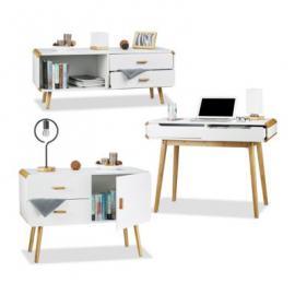 3 tlg. Möbel Set Materialmix Sideboard Schreibtisch Kommode 2 Schubladen weiß