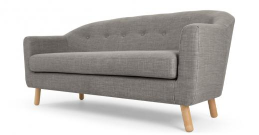 Lottie 3-Sitzer Sofa, Kalkgrau - MADE.com