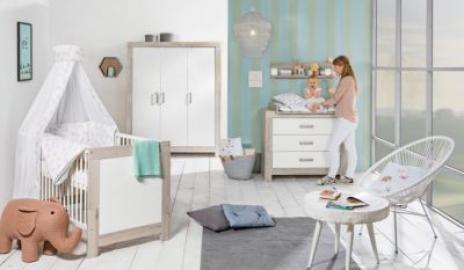 Komplett Kinderzimmer Nordic Halifax, 3-tlg.(Kombi-Kinderbett 70 x 140 cm, Umbauseiten, Wickelkommode mit Wickelaufsatz und Kleiderschrank 3-trg.), weiß lackiert, Holzdekor Halifax Eiche