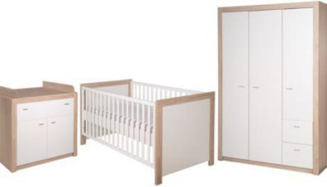 Komplett Kinderzimmer Leni 2, 3-tlg. (Kinderbett, Wickelkommode und Kleiderschrank 3-türig), weiß