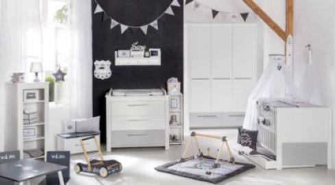 Komplett Kinderzimmer Linus, 3-tlg. (Kinderbett, Wickelkommode und Kleiderschrank), weiß/grau