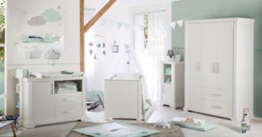 Komplett Kinderzimmer Maxi, 3-tlg. (Kinderbett, Wickelkommode und Kleiderschrank), weiß