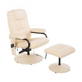 HOMCOM Massagesessel mit Hocker creme