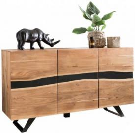 Akazie Massivholz & Metall Sideboard ´´Baum´´ 148x85x43 cm beige