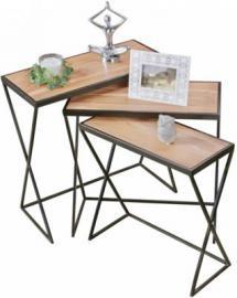 3-tlg. Akazie Massivholz & Metall Beistelltisch Set beige