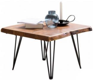 Sheesham Massivholz & Metall Design Couchtisch ´´Baum´´ 56x38x51 cm braun