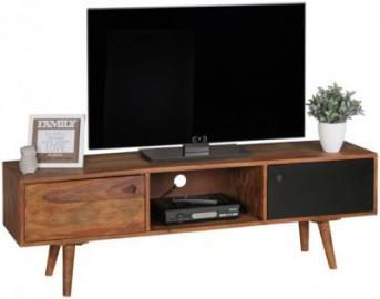 Sheesham Massivholz TV-Board mit 2 Tür 140x45x35 cm schwarz/braun