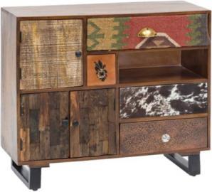 Mango Massivholz & Metall Sideboard ´´Patch´´ 90x35x80 cm braun