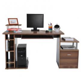 Computertisch ausziehbar mit Schubladen L152xB60xH80 cm braun
