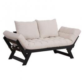 2-Sitzer Schlafsofa mit Kissen schwarz/weiß