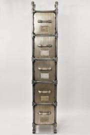 Metall Hochkommode ´´Steampunk´´ H151 cm grau