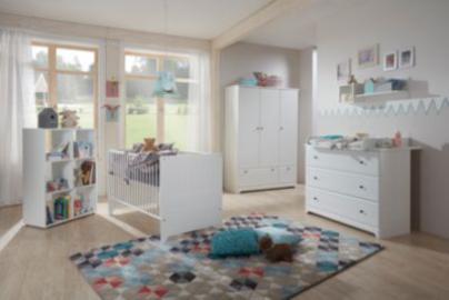 Komplett Kinderzimmer Johan, 3-tlg. (Kinderbett exkl. Umbauseiten, Wickelkommode und 3-türiger Kleiderschrank), weiß