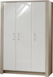 Kleiderschrank Mario, 3-türig, Ulme Silber-Grau / Hochglanz-Weiß