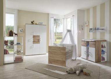 Komplett Kinderzimmer Anna, 3-tlg. (Kinderbett exkl. Umbauseiten, Wickelkommode und 2-türiger Kleiderschrank), Goldeiche/weiß