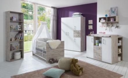 Komplett Kinderzimmer Bente, 3-tlg. (Kinderbett exkl. Umbauseiten, Wickelkommode und 4-türiger Kleiderschrank), weiß/Eiche Sand