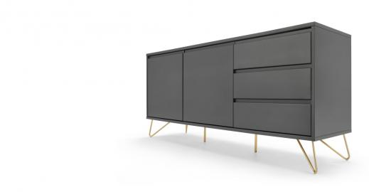 Elona Sideboard, Anthrazit und Messing - MADE.com