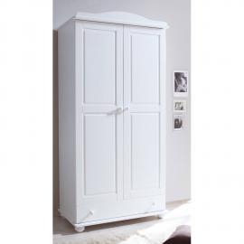 Babyzimmer Kinderzimmer Kleiderschrank 2-trg mit Schubkasten LUZERN-22 Kiefer massiv weiß lackiert B x H x T ca. 96 x 195 x 56 cm
