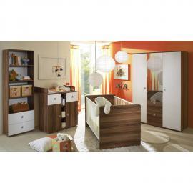 Babyzimmer Komplett Set 4-teilig Walnuss-weiß MEYRIN-22 Kleiderschrank, Wickelkommode, Standregal & Babybett 70x140cm