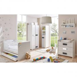 Babyzimmer Komplett Set USTER-22 grau meliert mit Babybett, Kleiderschrank, Anstellschrank, Wickelkommode und Regal
