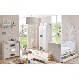 Babyzimmer Komplettset 5-tlg USTER-22 grau meliert mit Babybett mit Schubkasten, Kleiderschrank, Wickelkommode und Wandregal