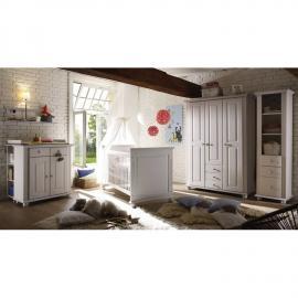 Babyzimmer Komplettset massiv weiß CHIASSO-22 mit Babybett, Wickelkommode, 3-trg Kleiderschrank, Anstellregal und Wandregal