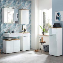 Badmöbel Komplett Set mit Glasfront LUBLIN-01 in weiß mit Navarra Eiche B x H x T ca.: 178 x 200 x 34 cm